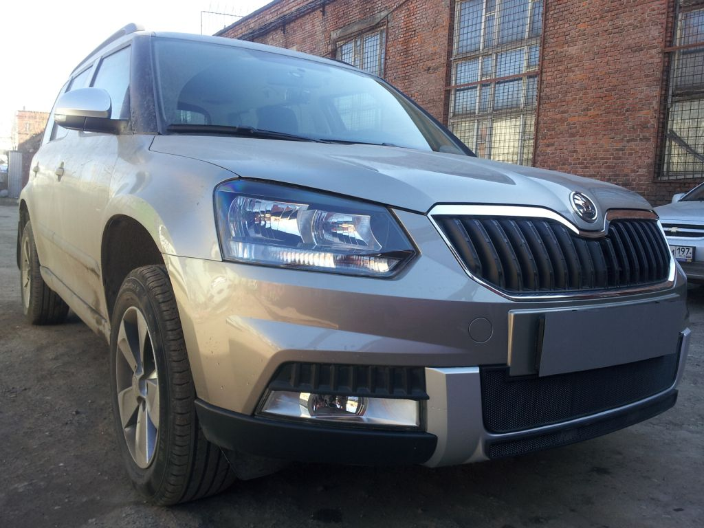 Защита радиатора Skoda Yeti Outdoor 2014- black центральная