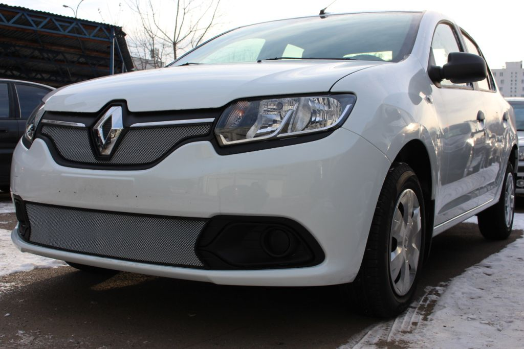 Защита радиатора  Renault Logan 2014- низ chrome(Privilege, Luxe)