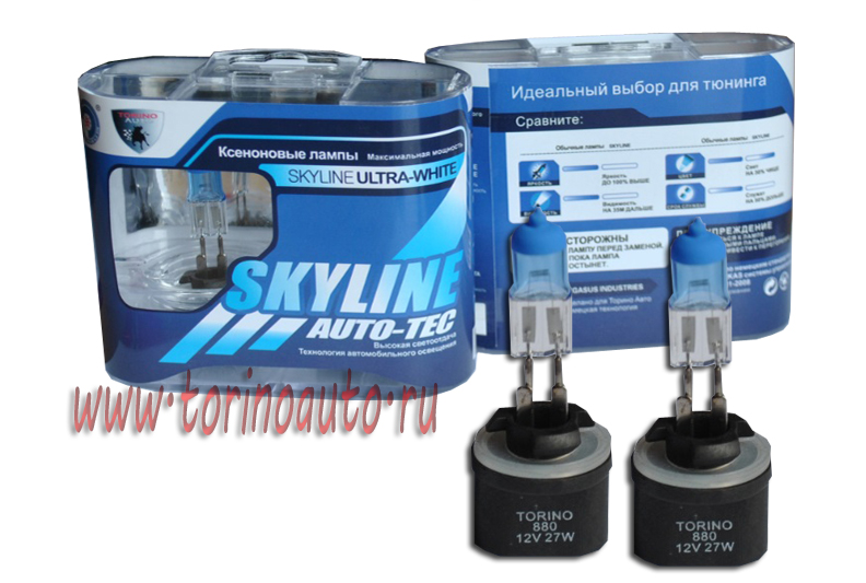 "Лампа галогеновая "" SKYLINE"" H27-880 12V27W (ULTRA-WHITE 3800K) комп. 2шт"